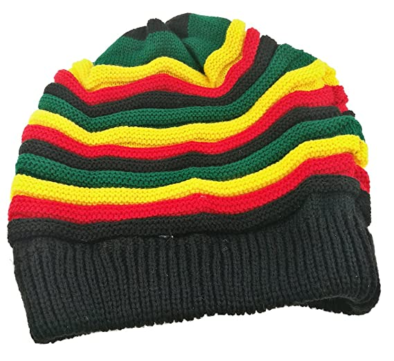 Colored Striped Long Style Hip-hop Hairy Knitted Hat-The Jamaican Reggae Hat  ( f76f0493259