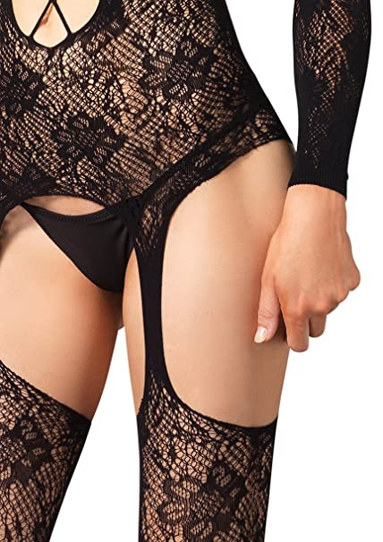 19bddb863ed Leg Avenue Lingerie Collection Universal Black Floral Suspender Bodystocking   Amazon.co.uk  Health   Personal Care