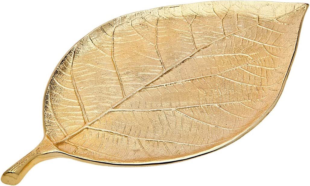Gold Leaf Decorative Serving Tray for Appetizers, Desserts, Hors D'vour Dish - Medium