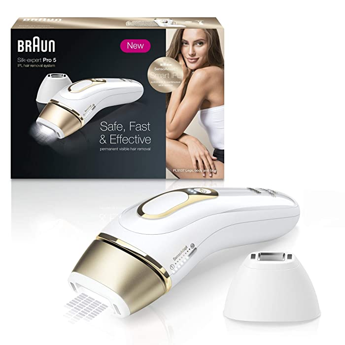 Braun Silk·expert Pro 5 PL5137 Latest Generation IPL, Permanent Hair Removal, White&Gold