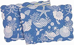 C&F Home Blue Shells Cotton Quilted Reversible Table Runner 14x51 Runner Blue