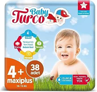 Baby Turco Bebek Bezi 4+ Numara Maxı Plus 38 Adet
