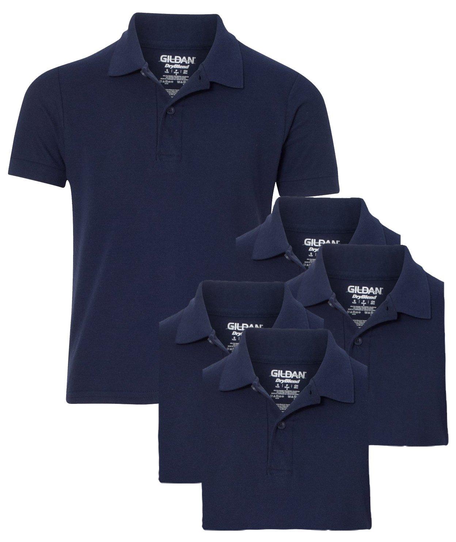 Gildan Youth School Uniform Double Pique Polo Shirt, Navy, XL ( Pack of 5 )