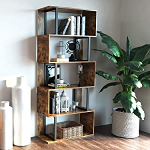 IRONCK Bookcase and Bookshelf 5 Tier Display Shelf, S-Shaped Z-Shelf Bookshelves, Freestanding Multifunctional Decorative Storage Shelving for Home Office, Vintage Brown Industrial Style