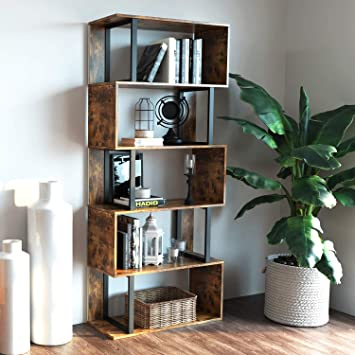 Amazon Com Ironck Bookcase And Bookshelf 5 Tier Display Shelf S Shaped Z Shelf Bookshelves Freestanding Multifunctional Decorative Storage Shelving For Home Office Vintage Brown Industrial Style Kitchen Dining