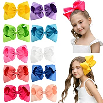 Popular Brand 4 Inch 10 Pcs Girls Grosgrain Rainbows Hair Bows With Hair Clips Kids Boutique Hair Ribbon Bows Gifts Accessories Home & Garden Artificial Decorations