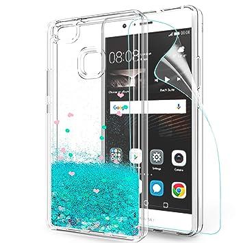 LeYi Funda Huawei P9 Lite Silicona Purpurina Carcasa con HD Protectores de Pantalla,Transparente Cristal Bumper Telefono Gel TPU Fundas Case Cover ...