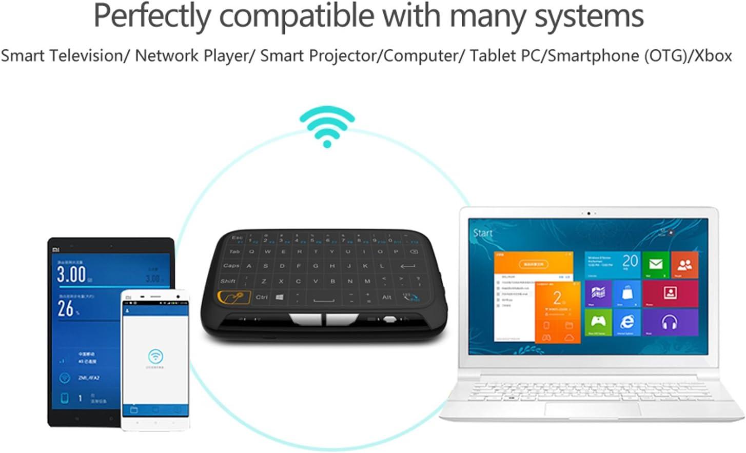 Mini inalámbrico ratón Touchpad y Teclado Combo, super-vip H18 toda Panel táctil de gran superficie múltiples dedos 2,4 G Wifi Mini Touchpad para Android TV Box, Windows PC, HTPC, IPTV, Raspberry Pi,