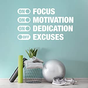 """Vinyl Wall Art Decal - On Focus On Motivation On Dedication Off Excuses - 34"""" x 60"""" - Trendy Motivational Quote Sticker for Home Gym Bedroom Exercise Room Fitness Workout Crossfit Decor (White)"""