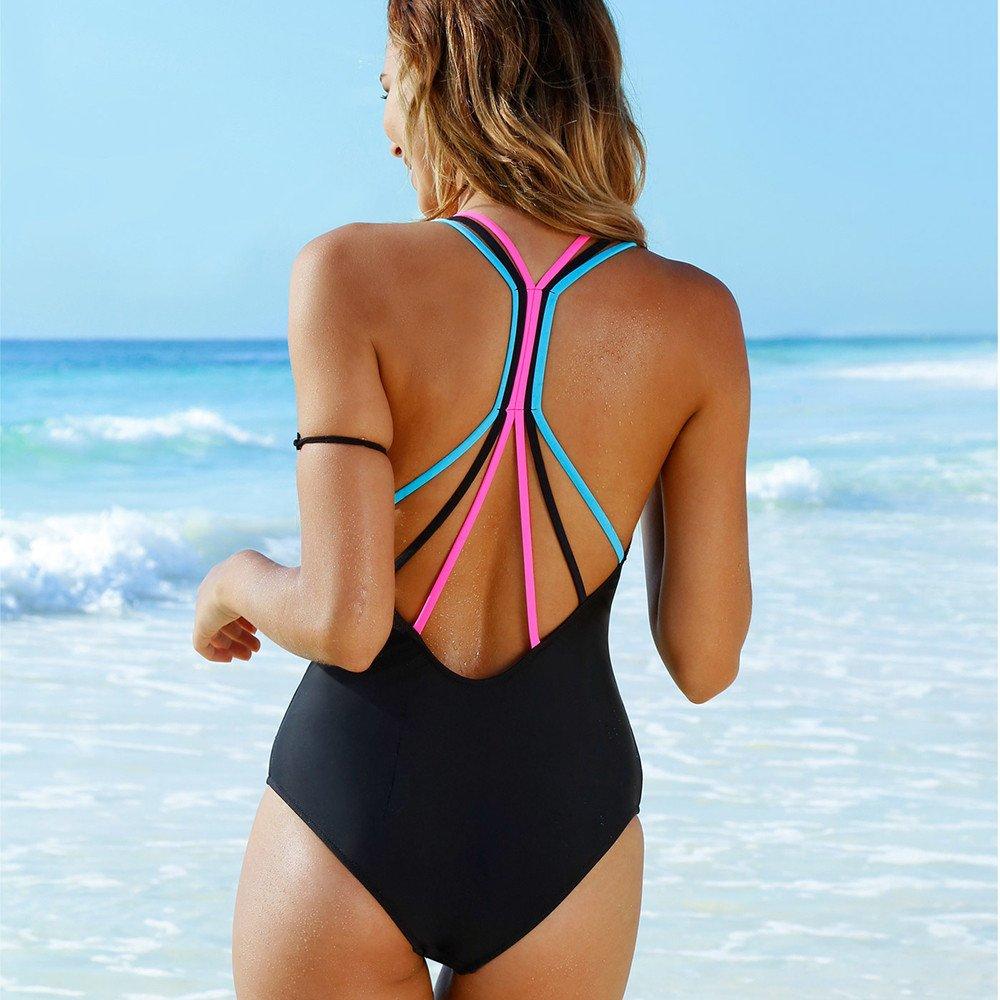 AMOFINY Womens Fashion Bikini Swimsuit Swimwear One Piece Push-Up Padded Bathing Backless Beachwear