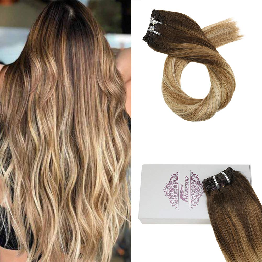 【Save $7】Moresoo 24 Inch Double Weft 100 Remy Human Hair Clip in Remy Hair Extensions Full Head Extensions 4 Brown Fading to 6 and 24 Blonde Clip on Human Hair Extensions Real Hair 7PCS 100G 71MsybZzrBL