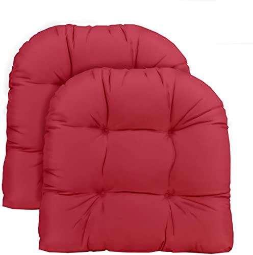 Resort Spa Home Decor Set of 2 – Universal Tufted U-Shape Cushions for Wicker Chair Seat – Solid Hot Pink Fabric – Indoor Outdoor