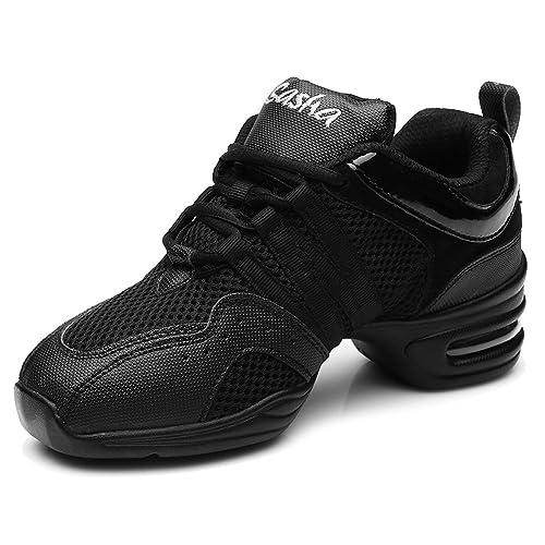 Sneaker Donna Donne Pelle Maglie Jazz Modern Ballo Danza Hip Hop Sport  Scarpe b858fc88f2a4