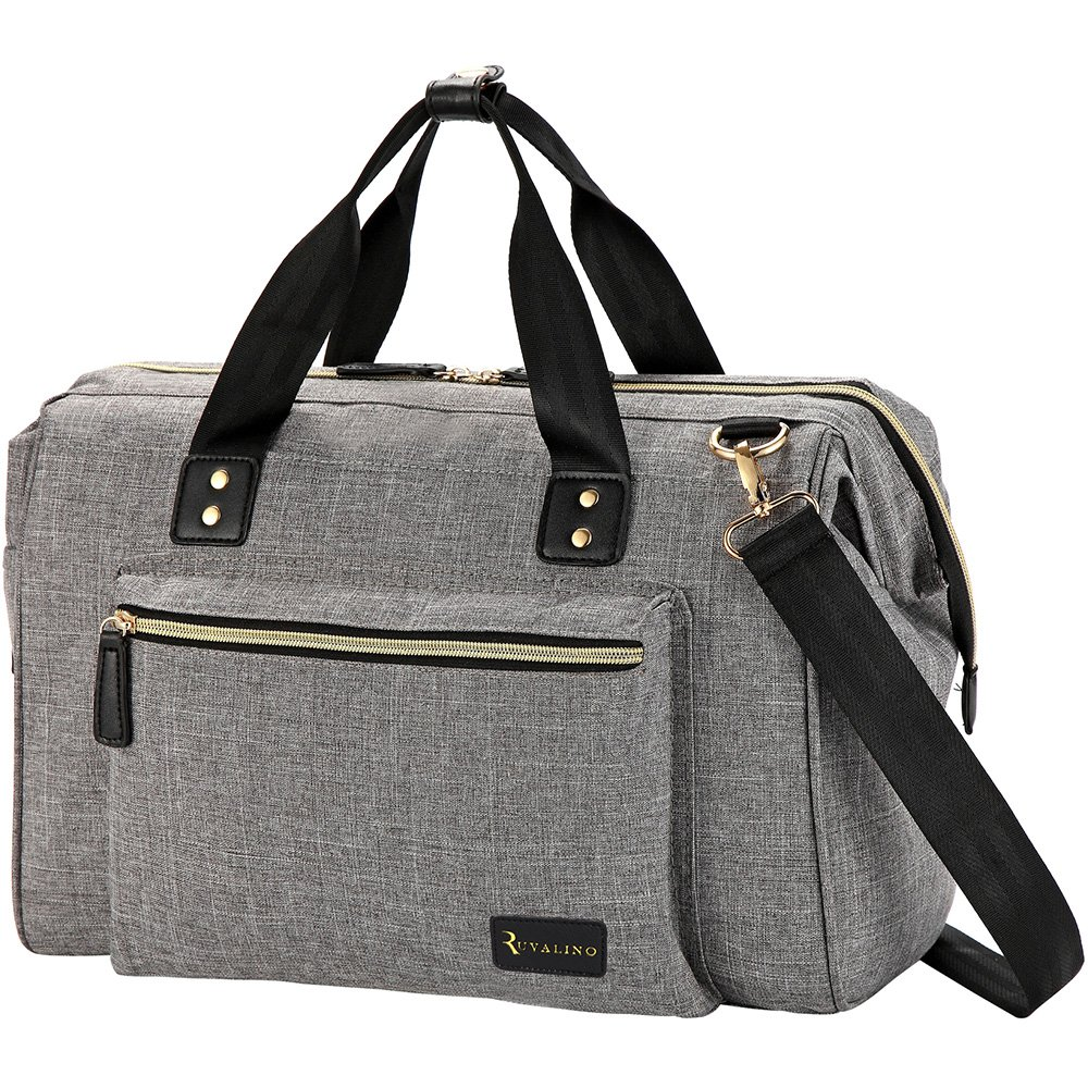 Baby Changing Bag RUVALINO Large Nappy Bags with Changing Pad and Insulated Pocket for Mom /& Dad Gray