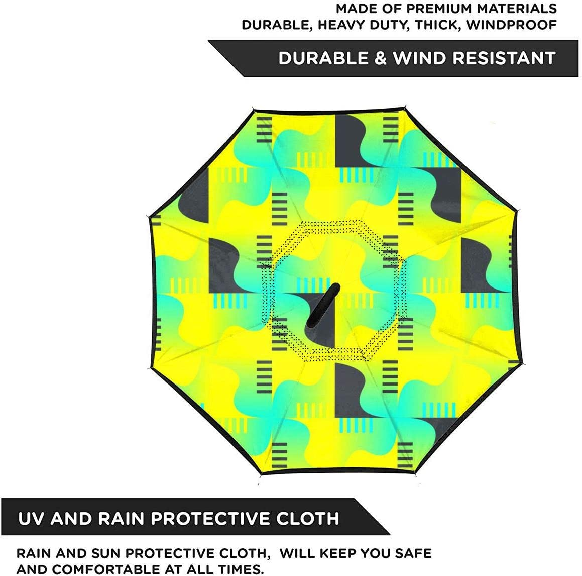 Folding Reverse Umbrella for Car Rain Outdoor Self Stand Upside Down with C-Shaped Handle PYFXSALA Yellow Abstract Pattern Windproof Inverted Umbrella Double Layer UV Protection