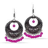Jaipur Mart Party Wear Silver Tone Oxidised Colour Bead Hoop Earrings Gift For Her, Girl, Women, Mother, Sister, Girlfriend, Party Wear, Daily Wear