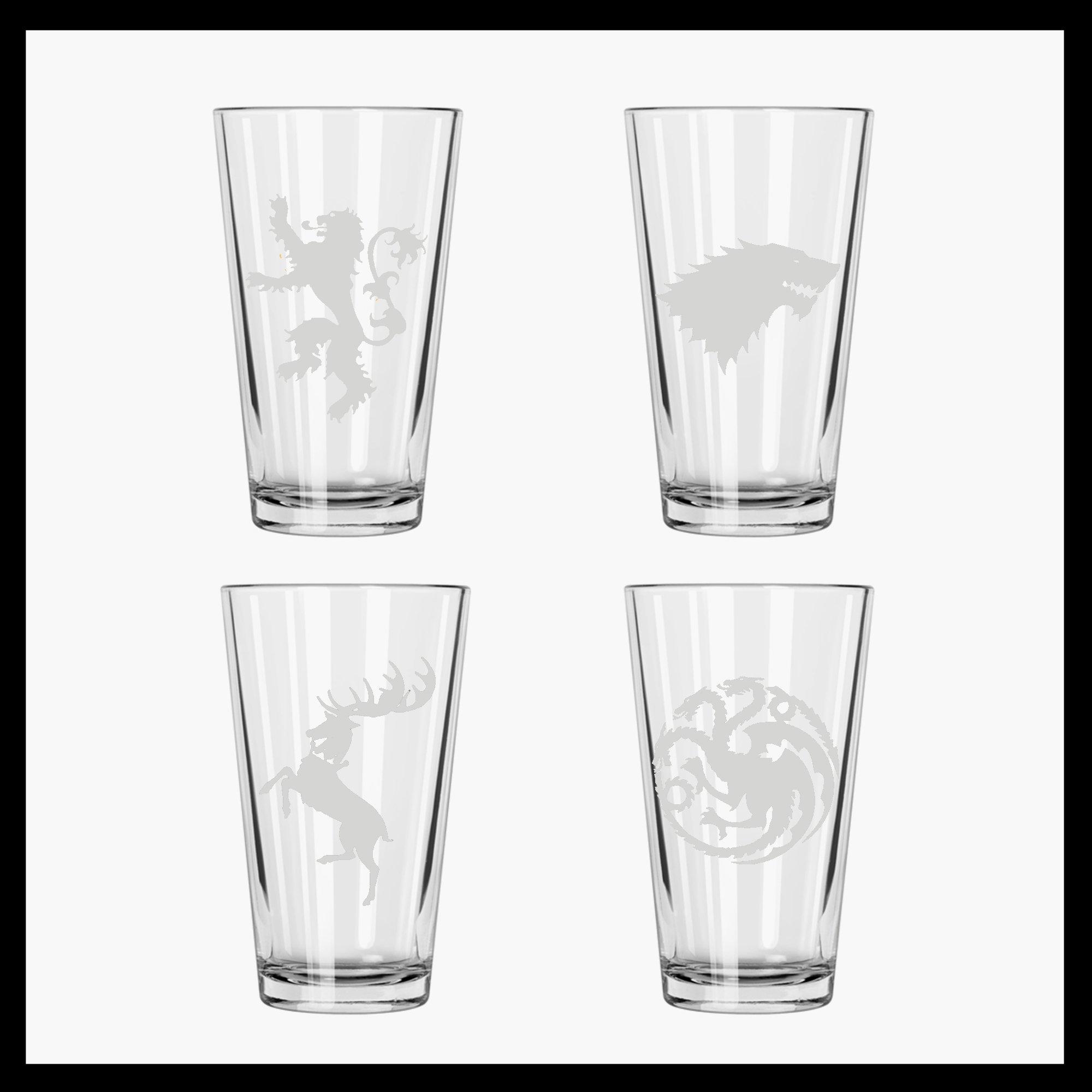 Got Set Of 4 Houses Etched Pint Glasses Stark Baratheon Lannister Targaryen Buy Online In Guyana At Guyana Desertcart Com Productid 37594593