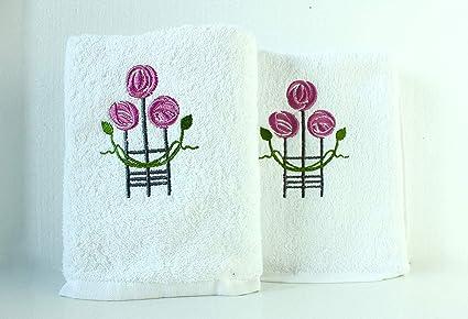 Lexs Linens Juego de 2 Toallas de Mano Bordadas con dise/ño Floral