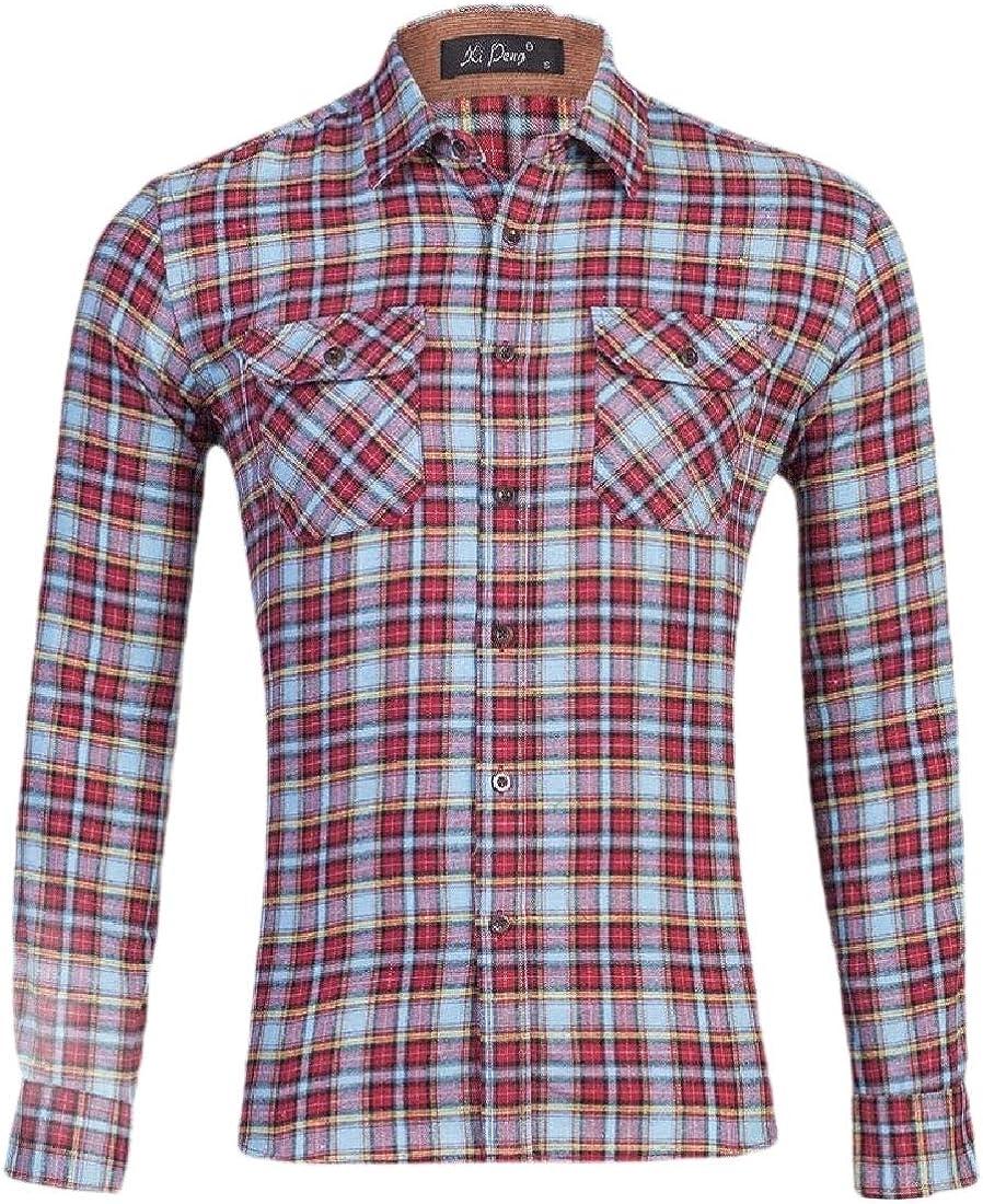 Mens Regular Fit Long Sleeve Button Down Plaid Flannel Shirt Plaid Dress Shirt