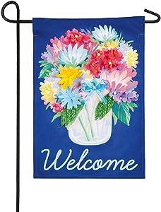 Evergreen Flag Floral Mason Jar Linen Garden Flag - 12.5 x 18 Inches Outdoor Decor for Homes and Gardens