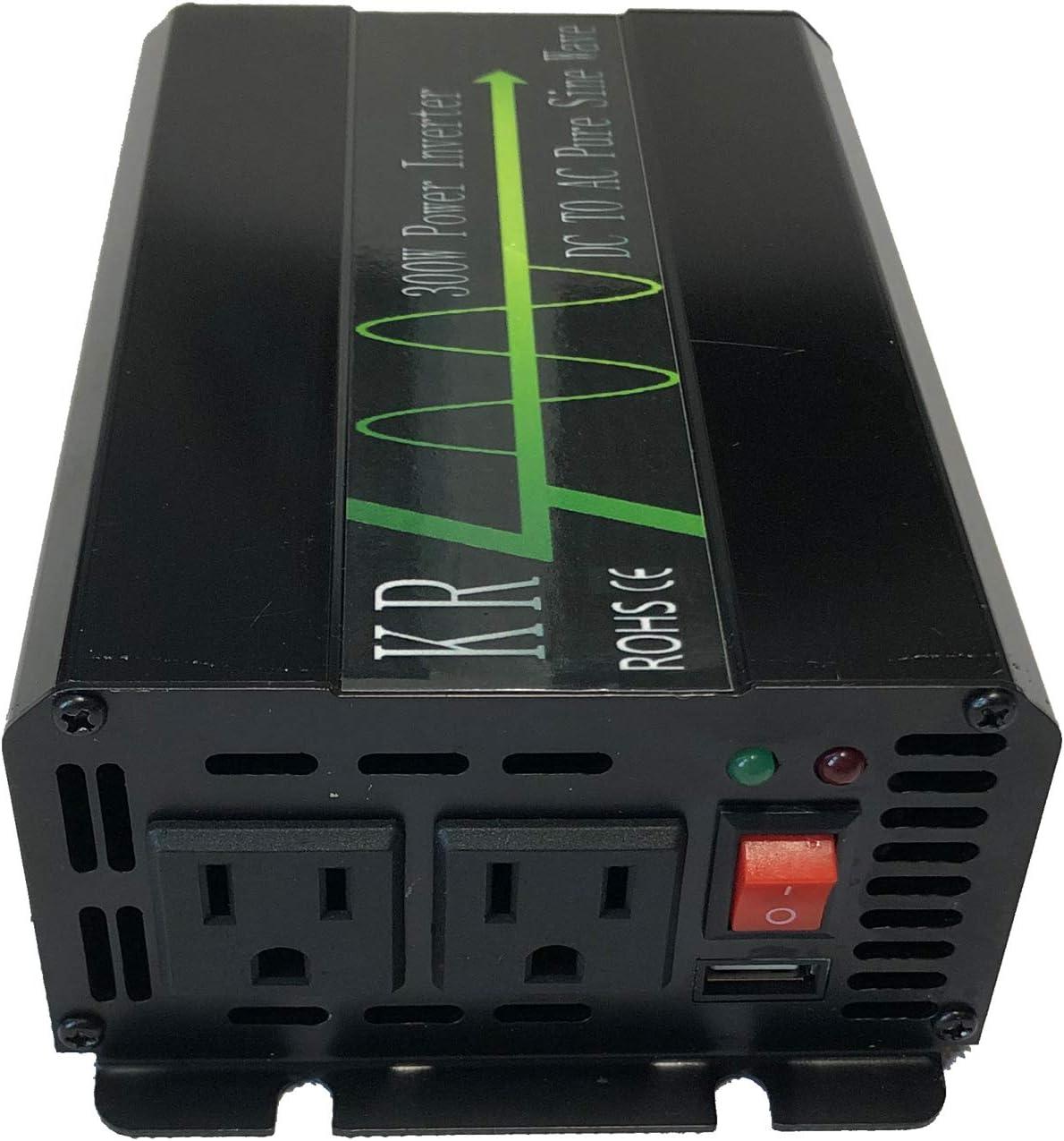 KRXNY 300W Power Inverter 24V DC to 120V AC Converter 60HZ Pure Sine Wave with USB Port for Car/RV/Home Solar