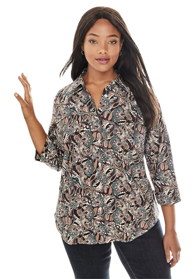 Jessica London Women's Plus Size Poplin Shirt Paisley Splash,22/24