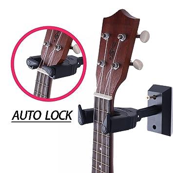 Ukelele perchero de pared Auto Lock Seguridad Soporte de pared de madera, guitarra y mandolina Hanger, negro