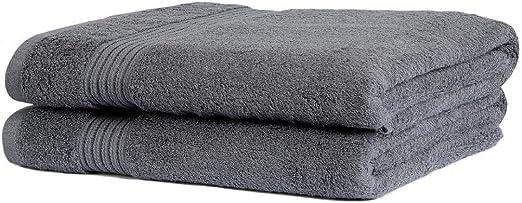 Sasma Home – 2 toallas de baño de algodón egipcio de alta calidad, 100% algodón natural de grapa muy absorbente, grandes toallas de baño – 90 x 150 cm de calidad de hotel – (gris): Amazon.es: Hogar