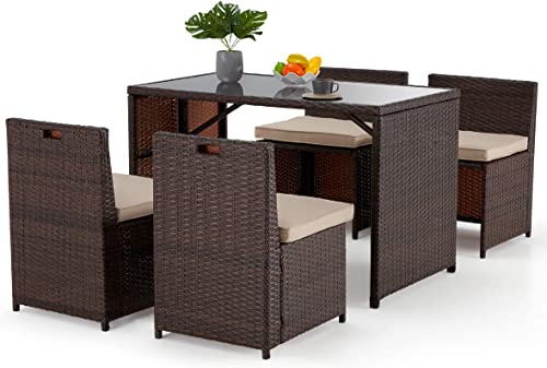 EROMMY 5 Pieces Patio Dining Set Space Saving Rattan Chairs