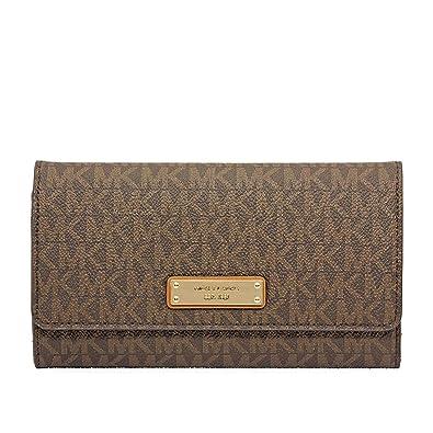 f5223eb04382 Michael Kors Large Mercer Tri-Fold Wallet- Brown: Handbags: Amazon.com
