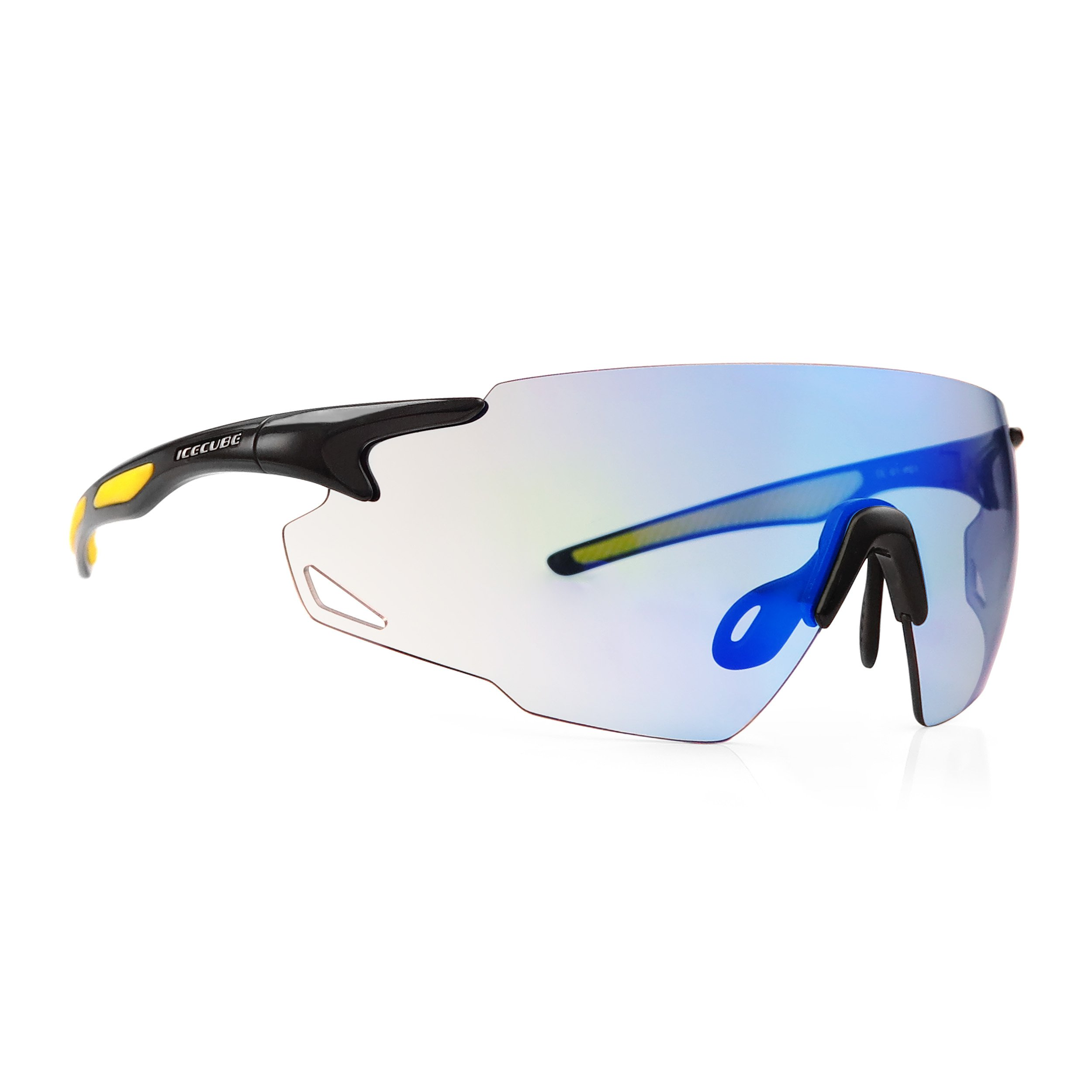 ICECUBE Asian Fit Photochromic Sports Sunglasses | Men or Women| UV Protection | TR90 Ultra Light | Suitable for Running, Driving, Beach, Fishing - COMBUST (Black, Blue Mirror)