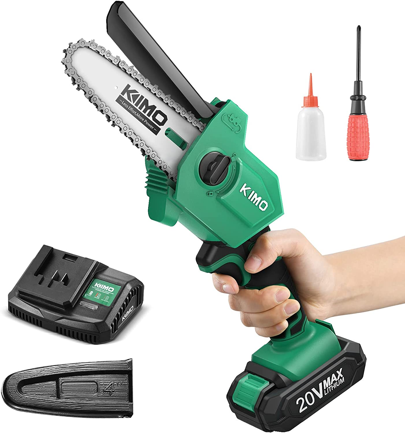 Mini Chainsaw - KIMO 2lbs Ultra-Lightweight Upgraded Cordless Chainsaw, 4-Inch w/ 20V 2.0Ah Battery&Charger, 13.2ft/s Speed, One-Handed Electric Chain Saw for Garden Tree Trimming Branch Wood Cutting