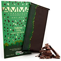 AMMA Organic Dark Chocolate - 75% Cacao With Cacao Nibs - Delicious Keto Snack, Low Carbs but Rich in Healthy Fats and Antioxidants. A Vegan Superfood, Free of Gluten & Dairy. Kosher - Halal - 80g Bar