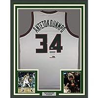 $549 » Framed Autographed/Signed Giannis Antetokounmpo 33x42 Milwaukee Retro White Basketball Jersey PSA/DNA COA