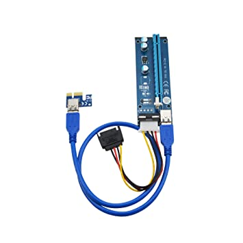 6-Pack PCI-E 1x to 16x Powered Riser Adapter Card with 60CM High Speed USB 3.0 Cable, SATA to Molex 4-Pin Power Cable, Ethereum Mining ETH Miner Rig ...