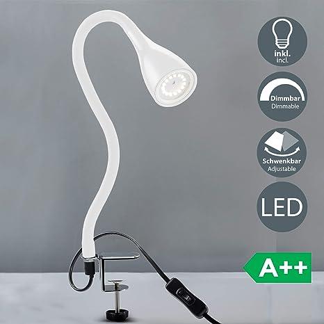 BKLicht Flexo escritorio LED blanco 5W, Lámpara con pinza GU10, Iluminación regulable con 3 niveles, Lamparas de mesa, Luz de Lectura con cuello ...