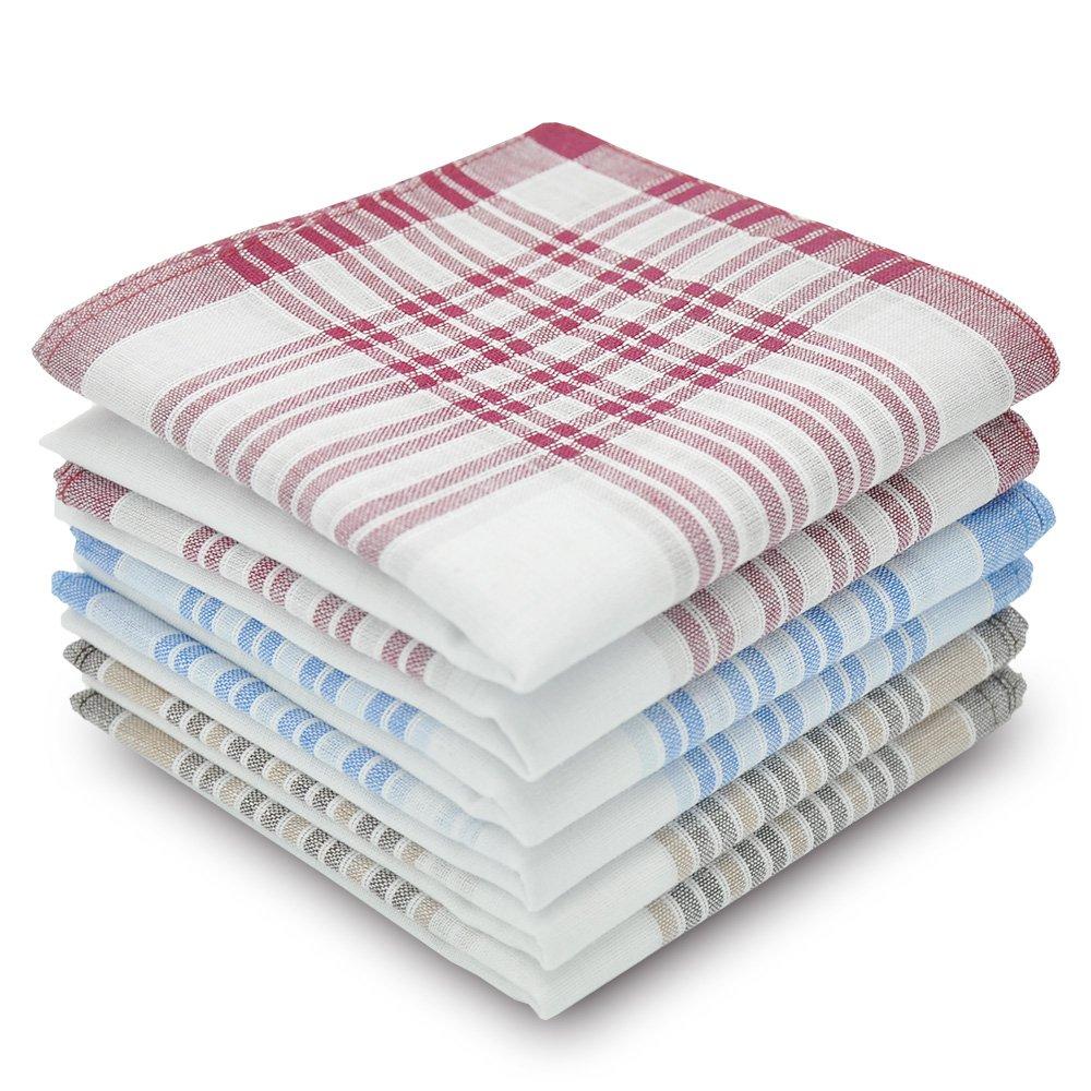 Men's Handkerchiefs 100% Cotton Classic Hankies 6 pieces set EHMHC110132