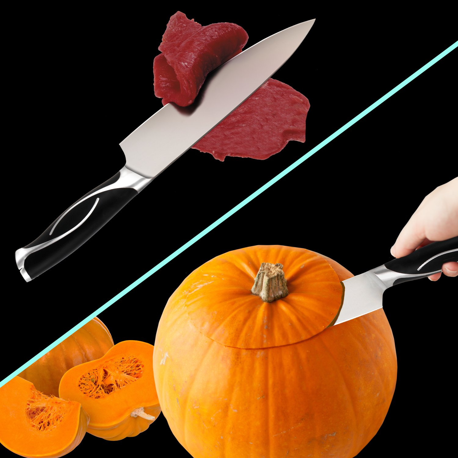 Professional 8 inch Chef Knife for Kitchen - Japanese Stainless Steel High Carbon Sharp Knives for Cutting Meat, Dicing Vegetables, Chopping, Slicing, Carving Food & More, with Gift Case, By Zvpod by  (Image #5)
