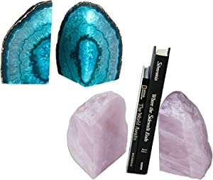 AMOYSTONE Teal Agate Bookends 2-3 lbs & Rose Quartz Book Ends 3-4 lbs for Home Office