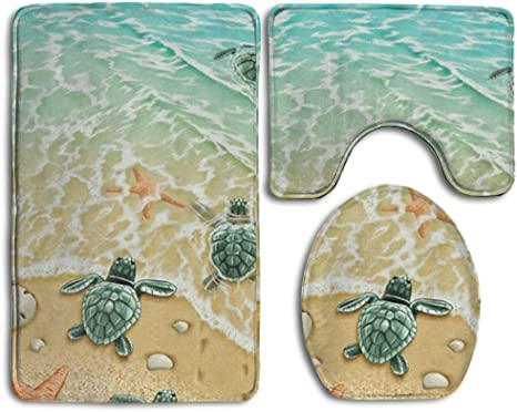 Loomppq Bath Mat Turtles On The Beach Bathroom Carpet Rug Non Slip 3 Piece Bathroom Mat Set Home Kitchen