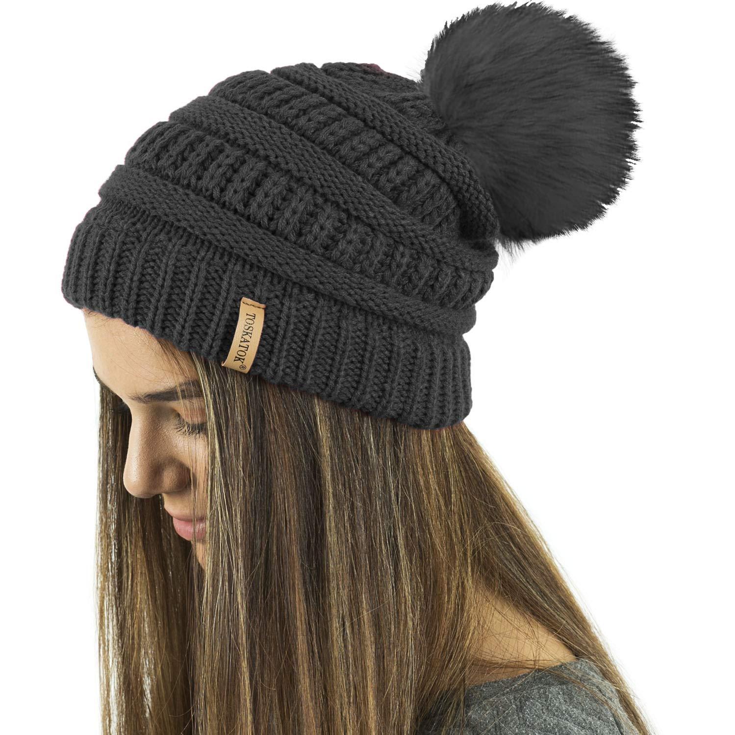 b2f7aede00a TOSKATOK® Ladies Textured Knit Beanie Hat with Detachable Faux Fur Pom Pom  - Buy with 1 2 Pom Poms…