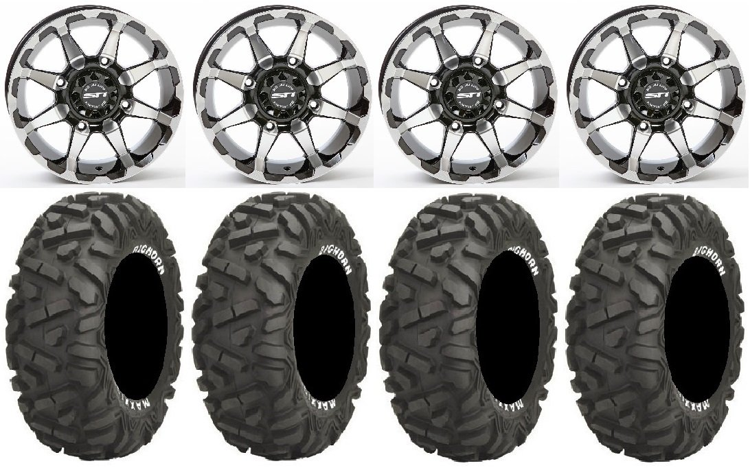 Bundle - 9 Items: STI HD6 14'' Wheels Machined 30'' BigHorn Tires [4x137 Bolt Pattern 12mmx1.25 Lug Kit]