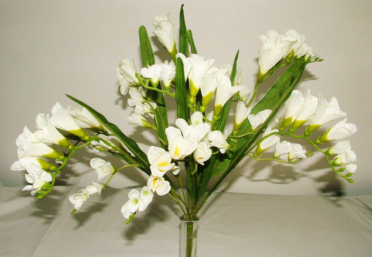 Artificial Silk Freesia Flower Stem Cream