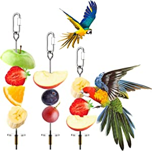 3 Pieces Stainless Steel Bird Parrot Skewer Stainless Steel Bird Food Holder Small Animal Fruit Vegetable Holder Foraging Hanging Food Feeding Tool for Parrots Cockatoo Cockatiel Cage (20, 16, 12 cm)