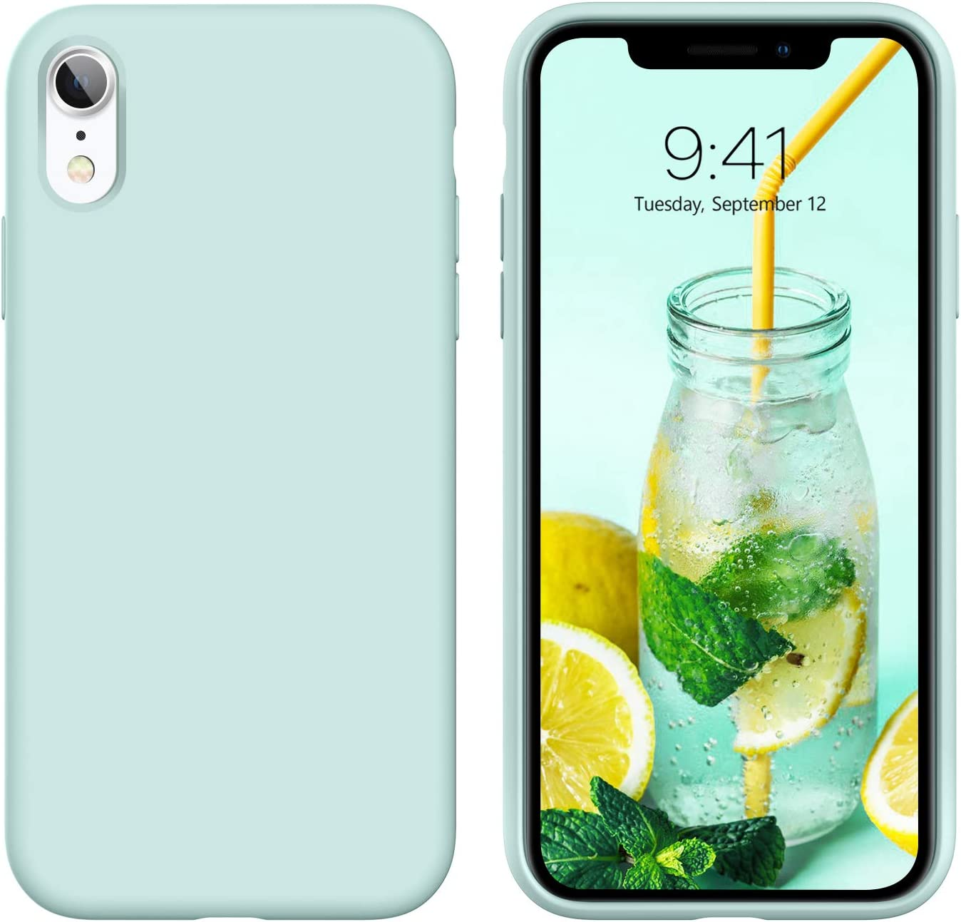 DUEDUE iPhone XR Case, Liquid Silicone Soft Gel Rubber Slim Cover with Microfiber Cloth Lining Cushion Shockproof Full Body Protective Case for iPhone XR 6.1 Inch, Mint Green