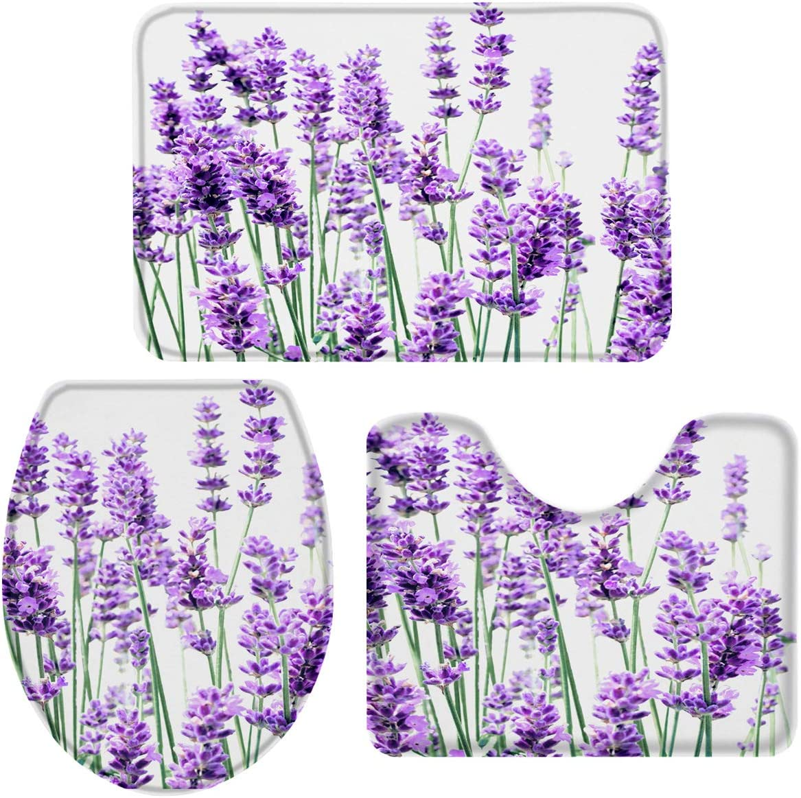 OneHoney 3-Piece Bath Rug and Mat Sets, Purple Lavender Flower Non-Slip Bathroom Doormat Runner Rugs, Toilet Seat Cover, U-Shaped Toilet Floor Mat Nature Floral Plant Large