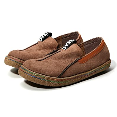 gracosy Slip-on Walking Shoes, Women's Ultra Leather ShoesSuede Pure Color Slip  on Stitching