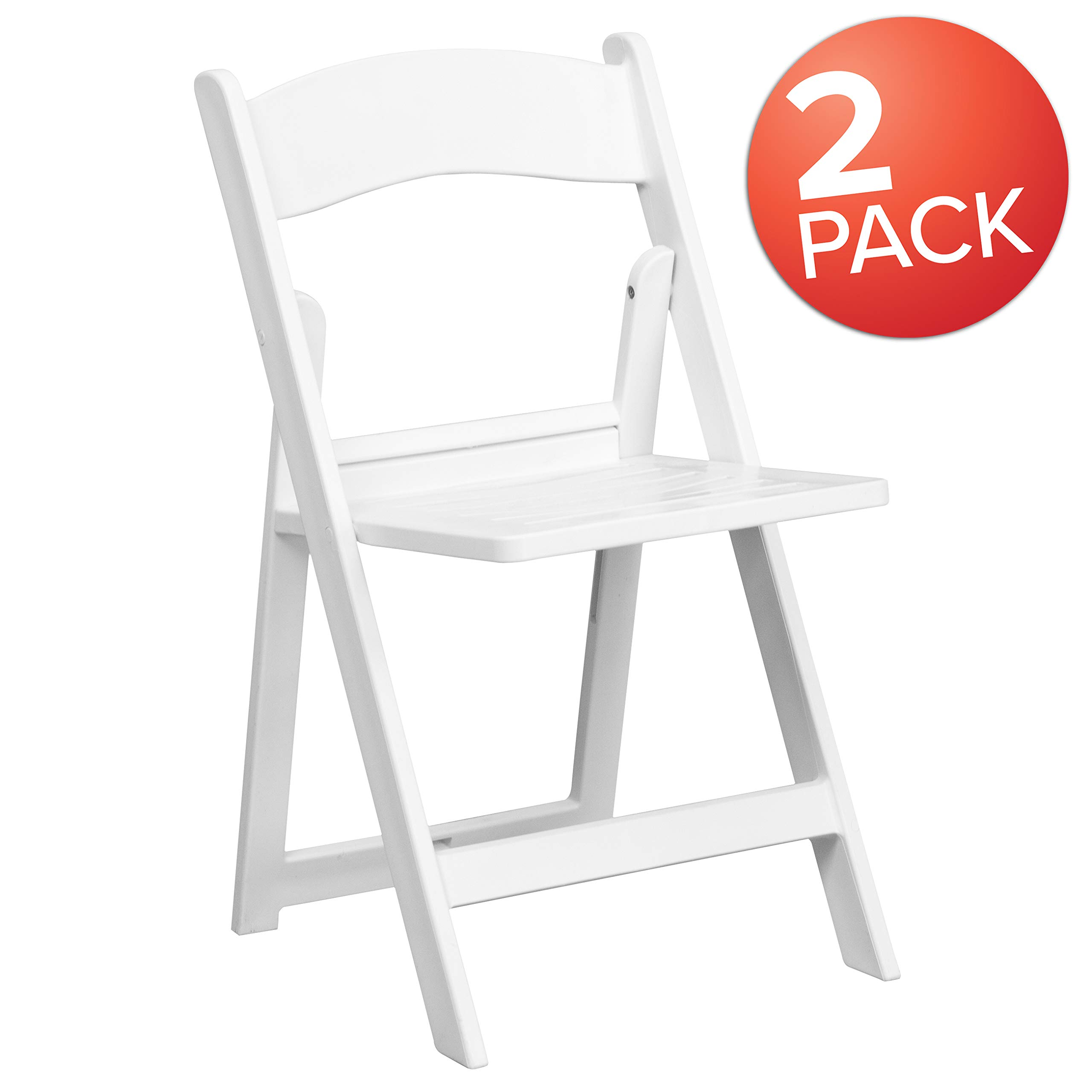 Flash Furniture 2 Pk. HERCULES Series 1000 lb. Capacity White Resin Folding Chair with Slatted Seat by Flash Furniture