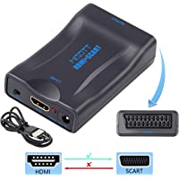 MISOTT HDMI to Scart Scaler Converter Adapter, 1080P HDMI Input Scart Composite Output Video Audio Adapter for CRT TV Sky DVD PS3 PS4 HDTV STB VHS XBOX Chromecast
