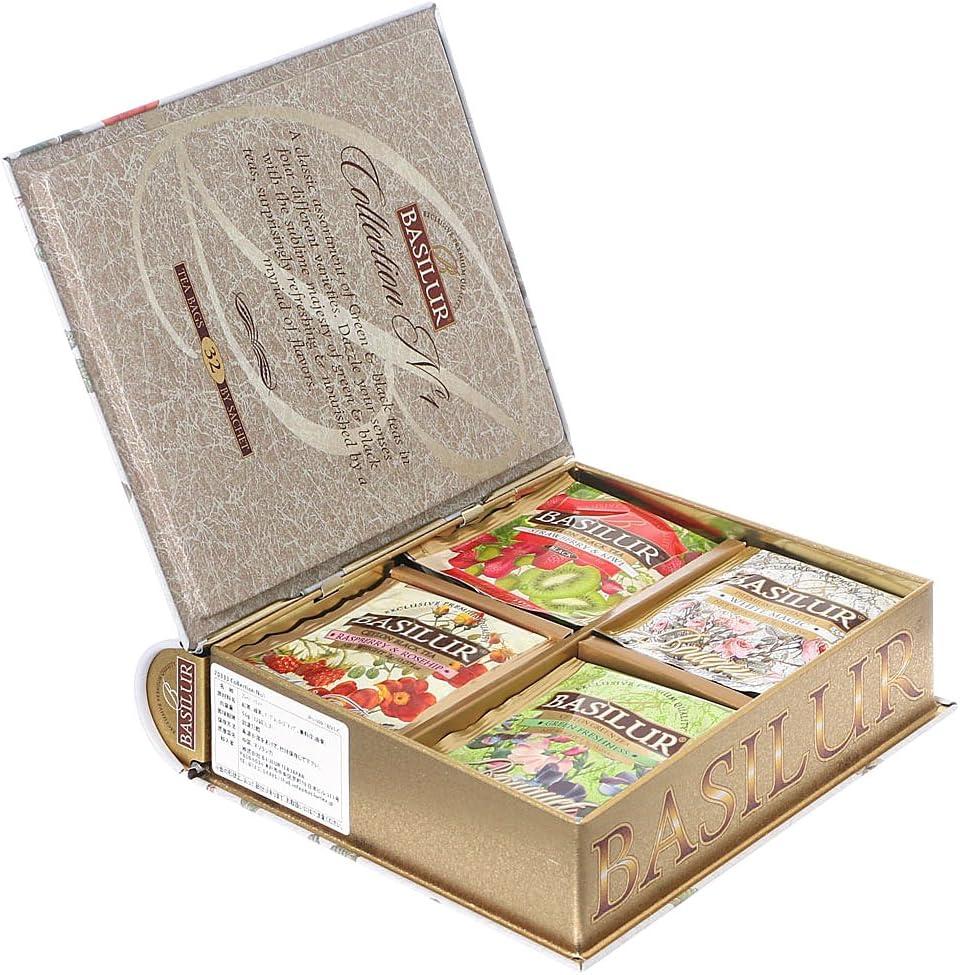 バシラーティー BASILUR TEA コレクションNO1 アソートブック缶 紅茶&緑茶のフルーツフレーバー ティーバッグ 4種セット32袋入り